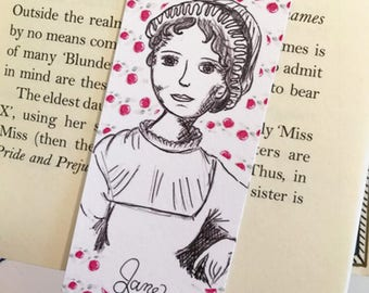 Jane Austen Bookmark - illustrated - bookmark -author