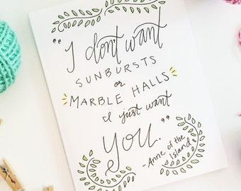 Wedding Card - Anne of Green Gables - greeting card - handmade