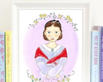 Meg March - Literary Heroine - art print - illustrated - Little Women - Louisa May Alcott - HMM