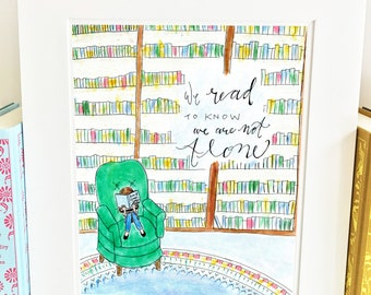 Girl in Library Print - Reading - Classroom Decor - library - LE1