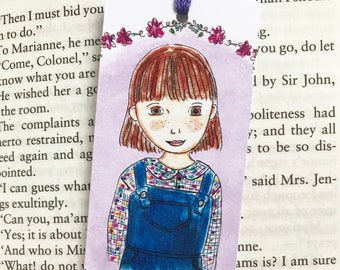 Literary bookmark - Scout Finch - Literary Gift - purple