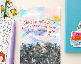 Zora Neale Hurston Postcard - literary quote - tell your story postcard