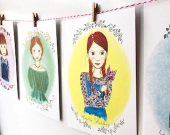 Literary Wall Art - illustrated - Girls Room Decor - banner