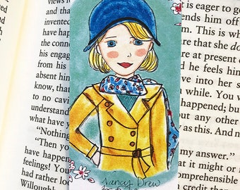 Nancy Drew bookmark - illustrated - bookmark - literary