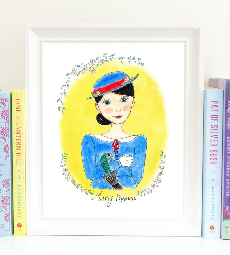 Mary Poppins Print  girls room decor  booklover gift image 0