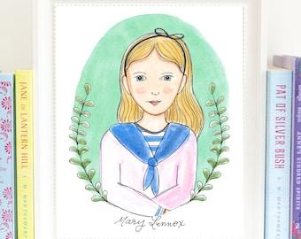 Mary Lennox - Literary Heroine - art print - illustrated - The Secret Garden - Frances Hodgson Burnett - HML