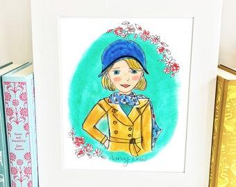Nancy Drew - literary heroine - art print - illustrated - HND