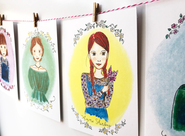 Literary Wall Art illustrated Girls Room Decor banner | Etsy
