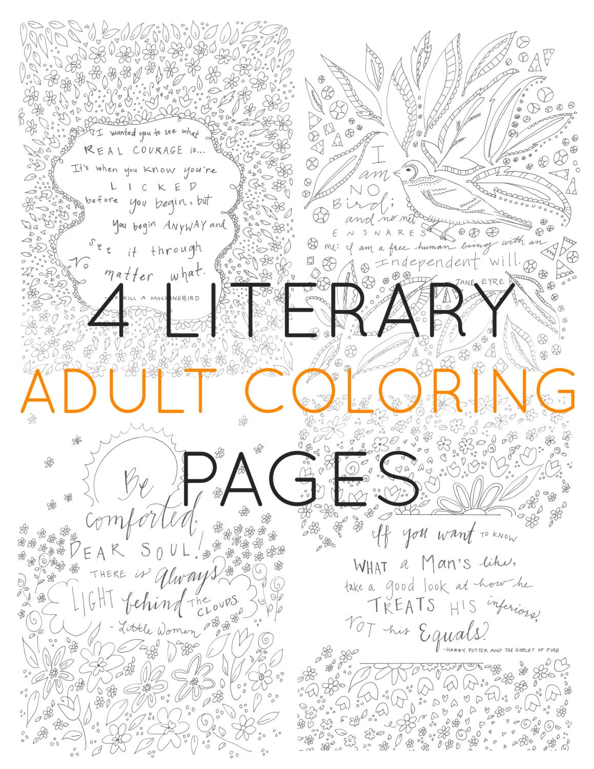 Set of 4 adult coloring pages literary coloring | Etsy