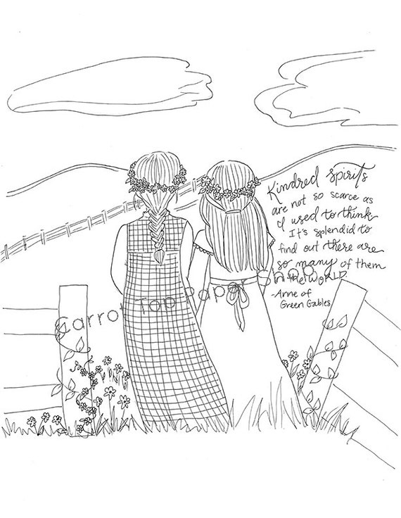 Anne of Green Gables Coloring page adult coloring literary | Etsy