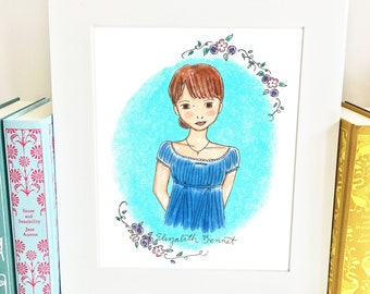 Elizabeth Bennet Print - Pride and Prejudice Print - Wall Art - Jane Austen - illustration - HE1