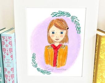 Lucy Pevensie Print - Chronicles of Narnia Print -  Nursery Wall Art - HLP