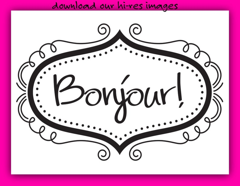 Signs Stadium Cups Beverage Napkins Clip Art Download our Fun Digital Design BONJOUR for Invitations Banners /& More! Coasters Koozies