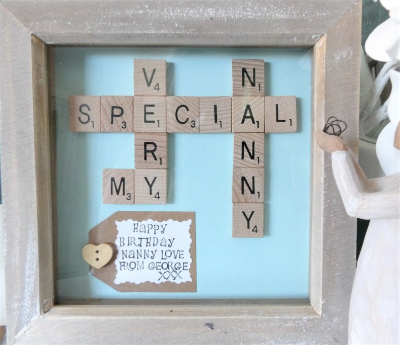 Handmade Family Tree Gift Hand Stamped Message White Wood A Very Special Nanny  Nana  Nan  Grandma Frame Personalised Scrabble Tile Art