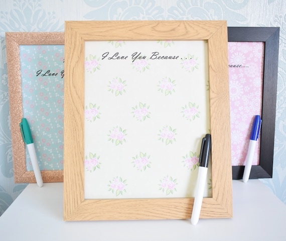 A Love You Frame. Personalised Mum Dad I Love You. Wipe Clean Picture  Frame. 8X10\
