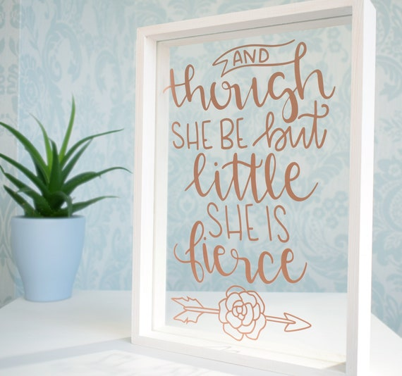 Shakespeare Quote Floating Glass Frame. Personalised Rose Gold | Etsy
