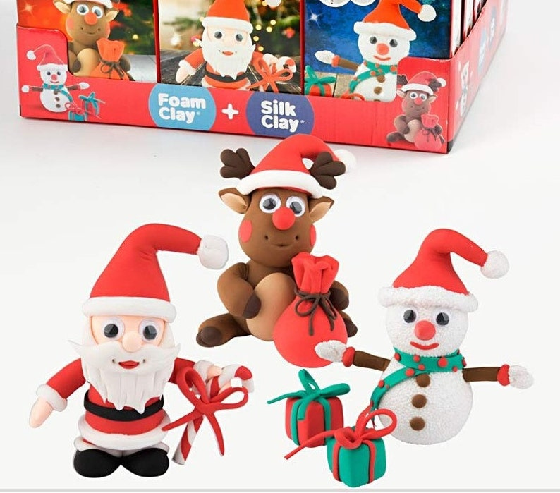 Childrens Christmas Crafts.Childrens Christmas Crafts Funny Friends Make Your Own Silk And Foam Clay Characters Kids Kit Craft Supplies Diy Snowman Reindeer Santa