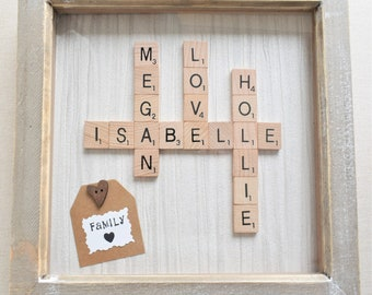 A Personalised Scrabble Tile Family Tree Frame. Scrabble Word Tile Crossword Art Name Frame. Wedding, Anniversary Birthday, Christmas Gift