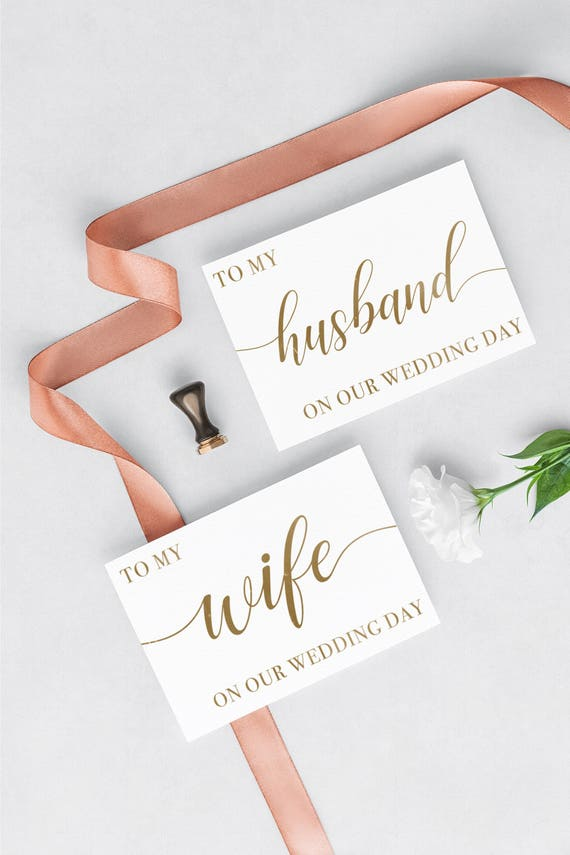 To My Husband Wedding Day Card Diy Printable Card To My Wife Etsy