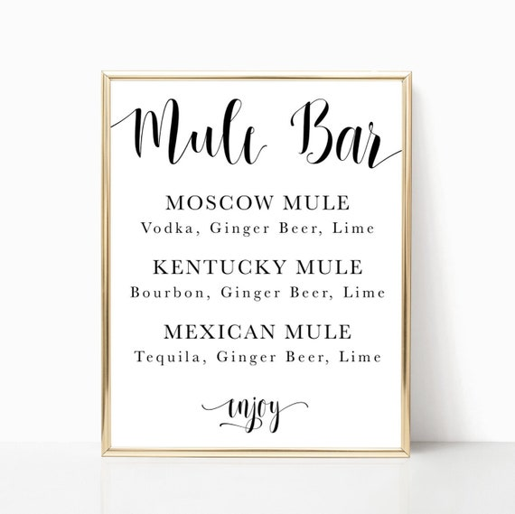 Mule Bar Menu Moscow Mule Sign Wedding Bar Print Signature Etsy