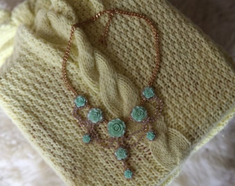 Green and gold rose statement necklace