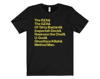 Men's Wu-Tang Clan in Helvetica Hip Hop Typography Minimalist T-Shirt