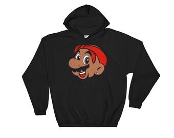 Men's Super Mario/Tupac Nintendo Hip Hop Hooded Sweater Hoodie - Mario Shakur