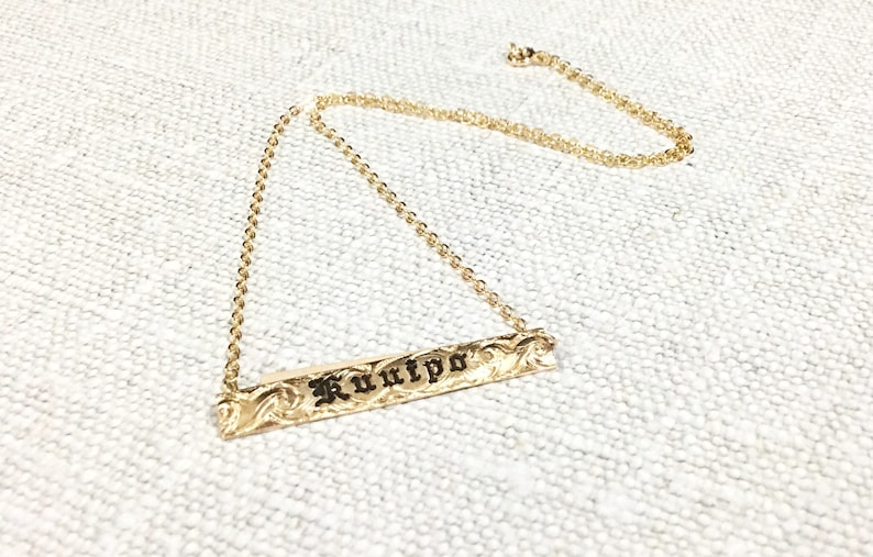 6mm horizontal gold filled Hawaiian pendant for Name up to 8 letters