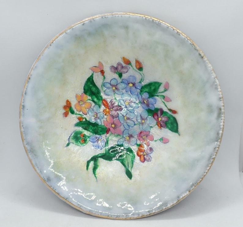 Exquisite Edwardian Enamel on Copper Signed Decorative Bowl Limoges c1910 Raymonde Mathieu Vide Poche