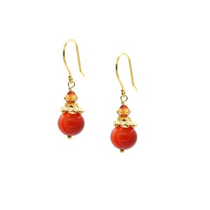 14 K Gold Plated Flower Cap Accented Carnelian and Faceted  European Glass Drop Earrings
