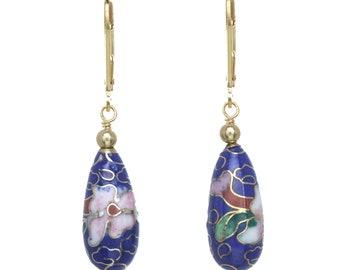 Cloisonne Cutout Floral Dangling Earrings