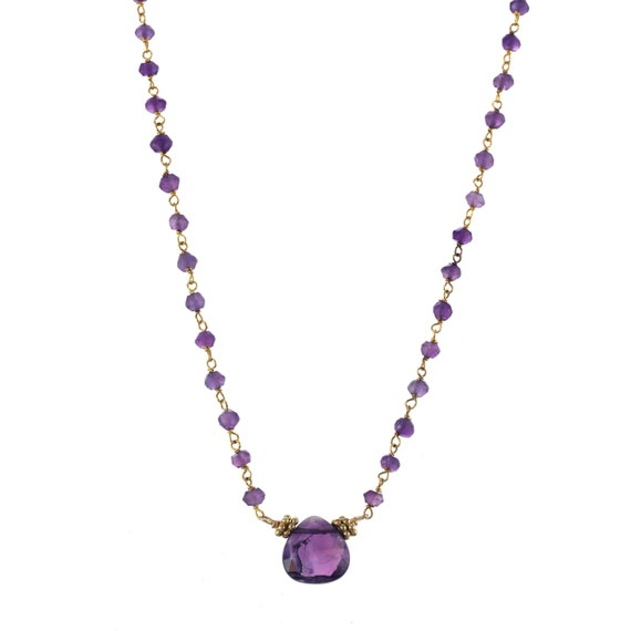925 Sterling Silver Amethyst Necklace Natural Genuine Amethyst Quality Coffin Shape Gemstone Necklace Perfect Gift For HerWomen