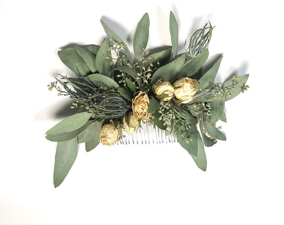 Hair Comb, Green White, Hair Pins, Dried flowers, preserved flowers, roses, eucalyptus, hair clip accessories, wedding accessory simple prom