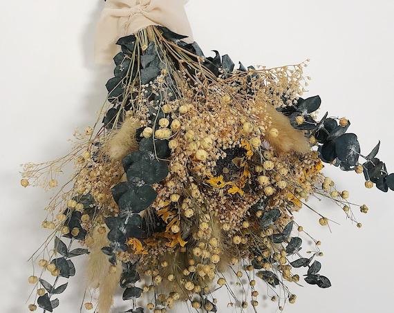 Sunflower Floral Bouquet, Fall Dried Flowers, yellow, orange, Wildflowers, mini gyp, flax, house decor, wedding, bunny tails, eucalyptus