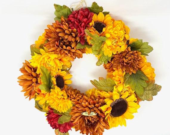 Fall Wreath, Autumn, Styrofoam, Decor, Home, Sunflowers, Door Wreath, Red, Orange, Green, Cute, Leaves, October Decor