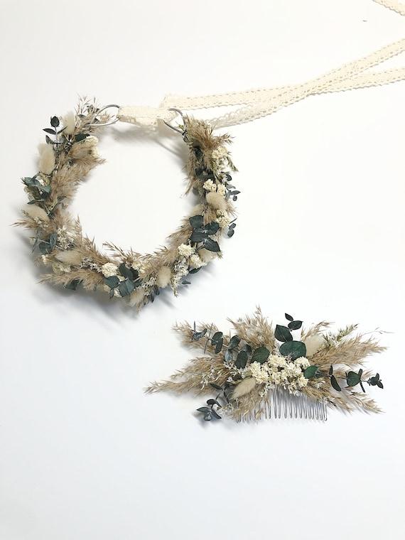 Head Wreath, Hair Comb, Natural Flowers, Head Decoration, Dried Flowers, Neutral, Cute, Bridal, Flower Girl, Photoshoot, Centerpiece, Cream