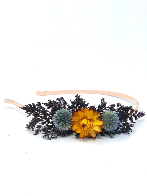 Hair Comb, Orange Dried Flowers, Preserved Flowers, Floral Comb, Hair Clip, Hair Accessories, Wedding Accessory, Simple, Wedding Corsage,