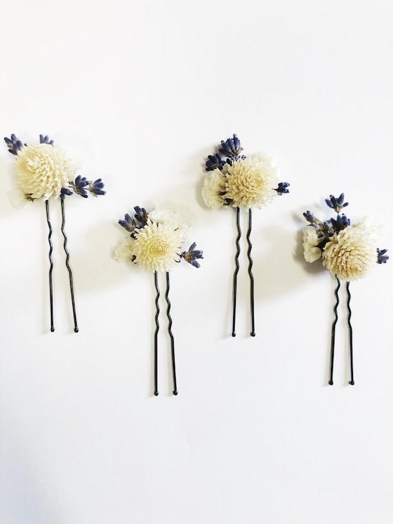 Purple White Hair Pins, Cream, Lavender, Blue, Dried Floral, Wedding Flowers, Preserved,Head Wreath, Hair Comb, Boutonniere, Hair Clips