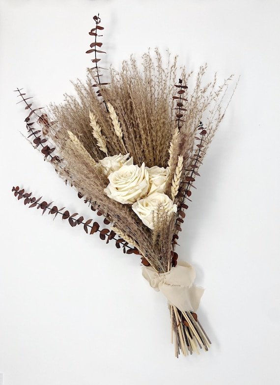 Off White Wedding Bouquet, Preserved Forever Roses, Floral, Beige, Bridal, Fall, Pampas Grass, Ribbon, Wheat, Cream and Green, Neutral Dried