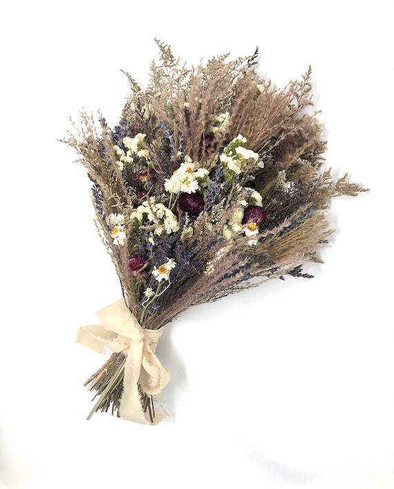 Wedding Bouquet, Dried Flowers, Beige, Brown, Purple, Fall, Wildflowers, Modern, Boho, Preserved, Floral, Pampas, Feather Grass
