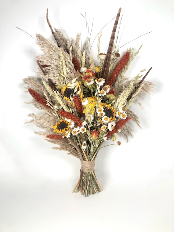 Sunflower Wedding bouquet, Pampas, Dried Flowers, Yellow, Orange, Summer, Fall, Wildflowers, Modern, Boho, Preserved, Floral, Feathers