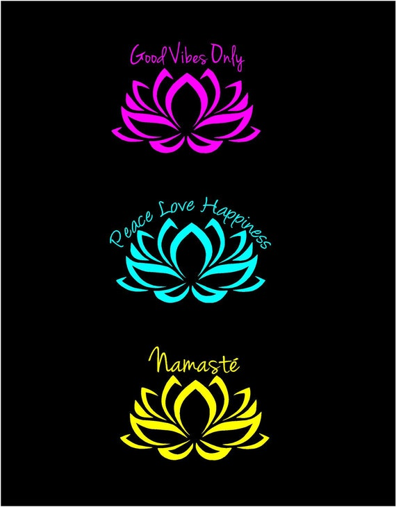 Lotus flower decal good vibes decal namaste decal peace love etsy image 0 mightylinksfo