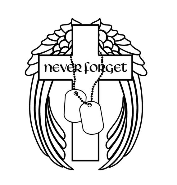 Never Forget Military Decal Cross Angel Wings Dog Tags Decal Etsy