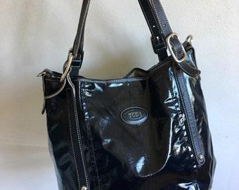 5ac479487b Tod's Designer G Line Easy Sacca Tote Bag Glazed Coated Canvas Black  Leather Silver Shoulder