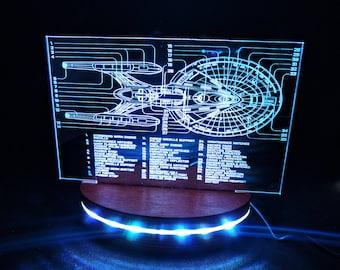 Star Trek inspired, night light,  geek gift, trekkie gift, Star Ship Schematic, wooden lamp, nerd gift, sci-fi lamp