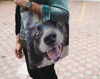 gift for her, Pet photo tote bag, custom tote, photo tote, personalized photo tote bag, shoulder bag, shopping bag, reusable bag, canavs bag