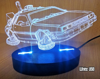 Back to the Future inspired, Geek, Desk lamp, night light, Delorean, nerd, Time Machine, Geek Gift, LED Desk Lamp, bttf