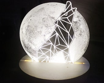 wolf, night light, desk lamp, wooden lamp, howling wolf, wolf and moon, Spirit animal, wolf power animal, LED lamp