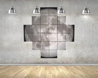 moon tiles, wall art, full moon phase, wall decor, space print, photo tiles, printed ceraminc tiles