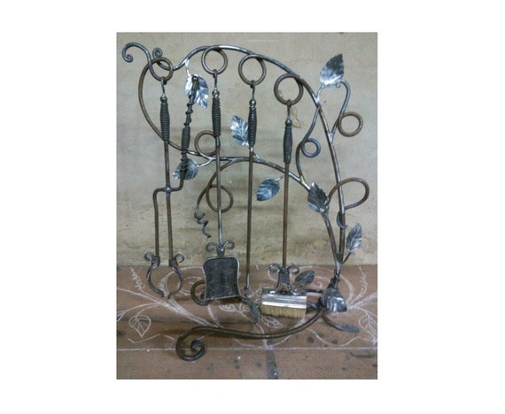 Hand Forged Wrought Iron Fireplace Tool Set Fireplace Tool Etsy